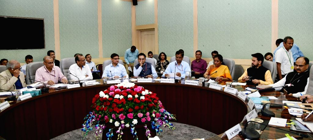 Union Finance and Corporate Affairs Minister Nirmala Sitharaman chairs the Pre-Budget consultation with the representatives of Infrastructure sector and experts on climate change, in New ... - Nirmala Sitharaman