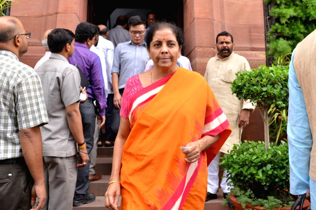 Union Finance and Corporate Affairs Minister Nirmala Sitharaman at Parliament in New Delhi on July 18, 2019. - Nirmala Sitharaman