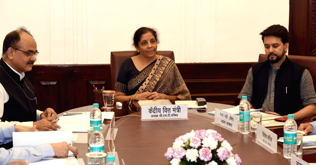 Union Finance and Corporate Affairs Minister Nirmala Sitharaman chairs the 36th GST Council meeting, in New Delhi on July 27, 2019. Also seen Union MoS Finance and Corporate Affairs Anurag ... - Nirmala Sitharaman