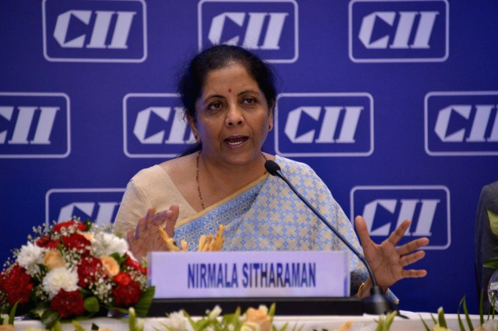 Union Finance and Corporate Affairs Minister Nirmala Sitharaman addresses the National Council Meeting of Confederation of Indian Industry (CII) in New Delhi on Aug 9, 2019. - Nirmala Sitharaman