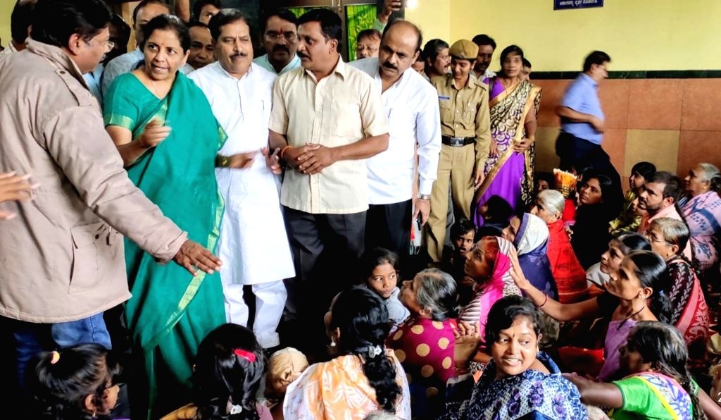 Union Finance and Corporate Affairs Minister Nirmala Sithraman during her visit to a relief camp in Karnataka's flood affected Belagavi on Aug 10, 2019. - Nirmala Sithraman