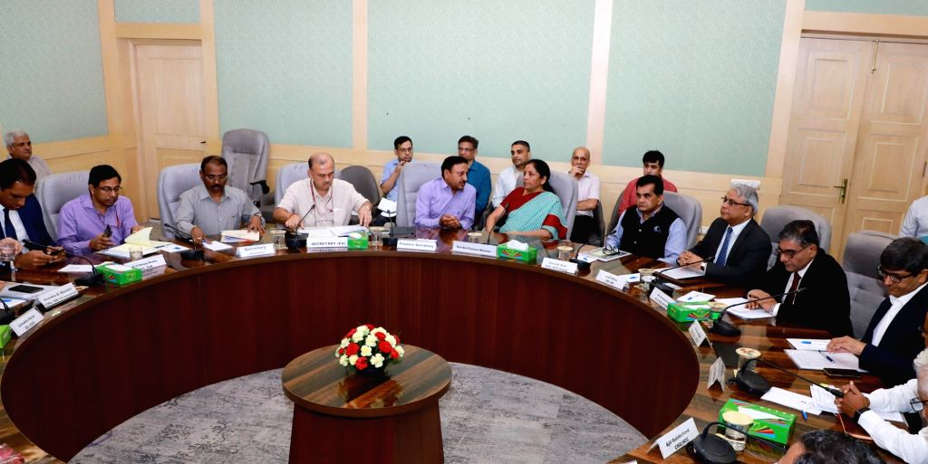 Union Finance and Corporate Affairs Minister Nirmala Sitharaman holds consultations with the representatives of Infrastructure and Construction Sectors, in New Delhi on Sep 4, 2019. - Nirmala Sitharaman