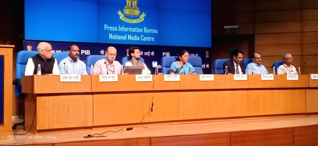 Union Finance and Corporate Affairs Minister Nirmala Sitharaman addresses a press conference at National Media Centre in New Delhi, on Sep 14, 2019. Also seen Union MoS Finance and ... - Nirmala Sitharaman