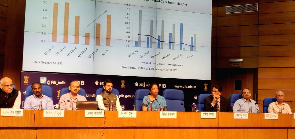 Union Finance and Corporate Affairs Minister Nirmala Sitharaman addresses a press conference at National Media Centre in New Delhi, on Sep 14, 2019. - Nirmala Sitharaman