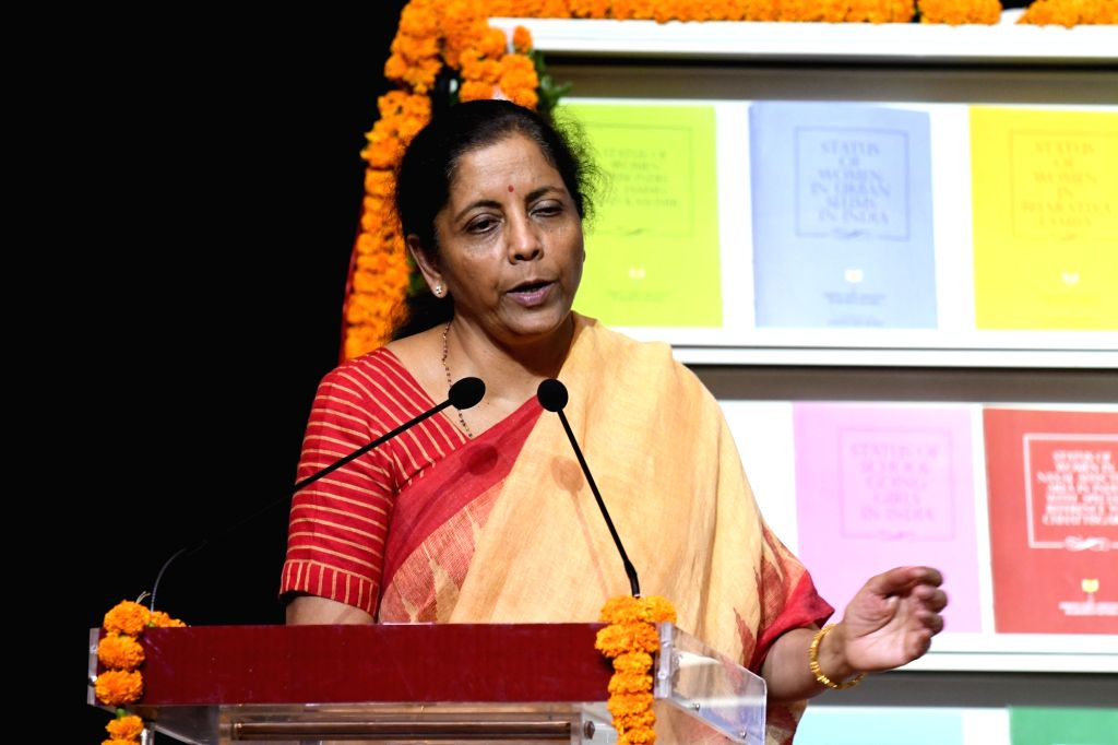 Union Finance and Corporate Affairs Minister Nirmala Sitharaman addresses at the launch of a report on Status of Women in India, in New Delhi on Sep 24, 2019. - Nirmala Sitharaman