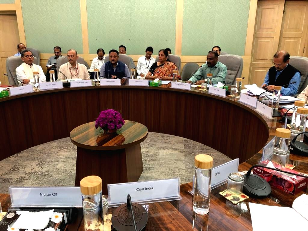 Union Finance and Corporate Affairs Minister Nirmala Sitharaman holds meeting with the heads of Central Public Sector Undertakings (CPSUs), in New Delhi on Sep 28, 2019. - Nirmala Sitharaman