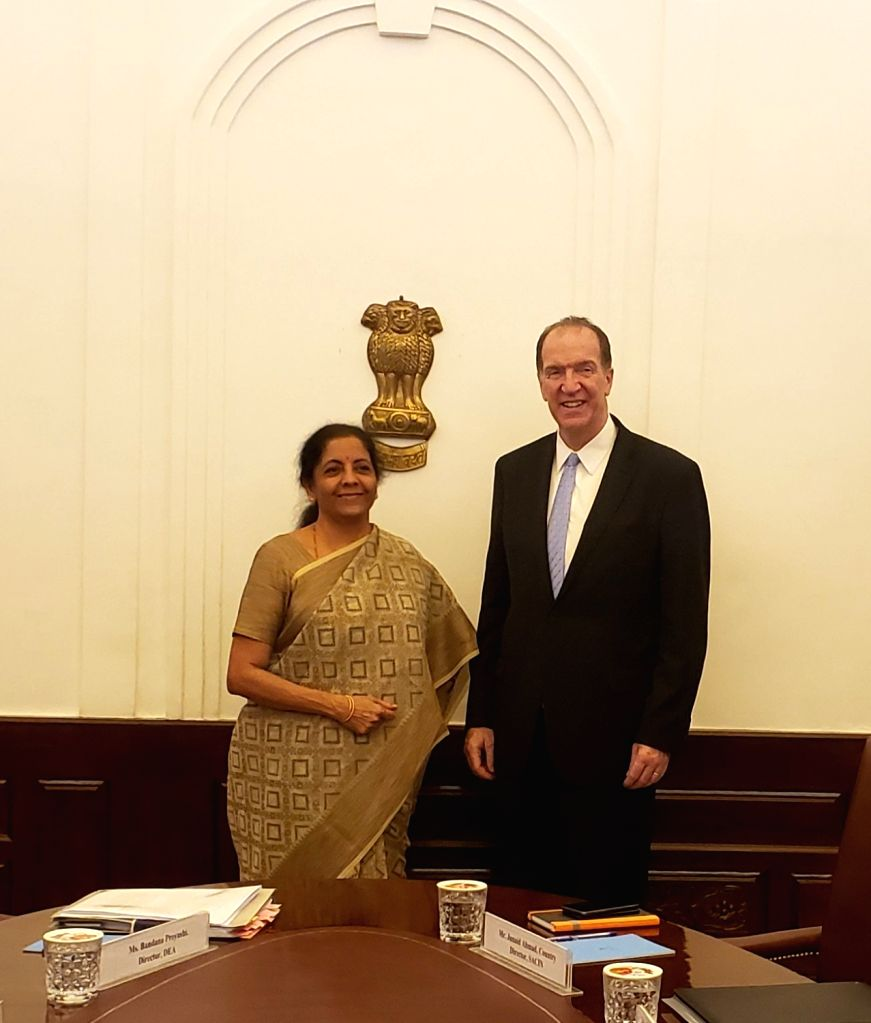 Union Finance and Corporate Affairs Minister Nirmala Sitharaman meets World Bank President David Malpass at North Block in New Delhi on Oct 26, 2019. - Nirmala Sitharaman