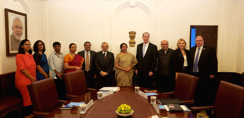 Union Finance and Corporate Affairs Minister Nirmala Sitharaman with a delegation led by World Bank President David Malpass at North Block in New Delhi on Oct 26, 2019. - Nirmala Sitharaman