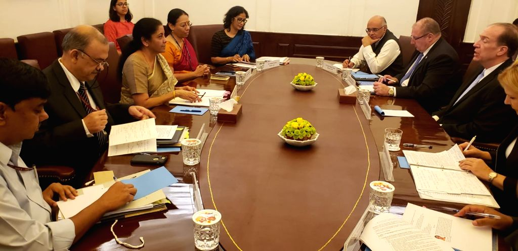 Union Finance and Corporate Affairs Minister Nirmala Sitharaman holds a meeting with a delegation led by World Bank President David Malpass at North Block in New Delhi on Oct 26, 2019. - Nirmala Sitharaman