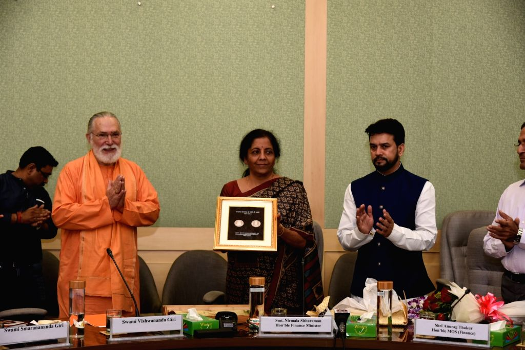 Union Finance and Corporate Affairs Minister Nirmala Sitharaman and Union MoS Finance and Corporate Affairs Anurag Thakur release a Special Commemorative Coin to mark the 125th Birth ... - Nirmala Sitharaman