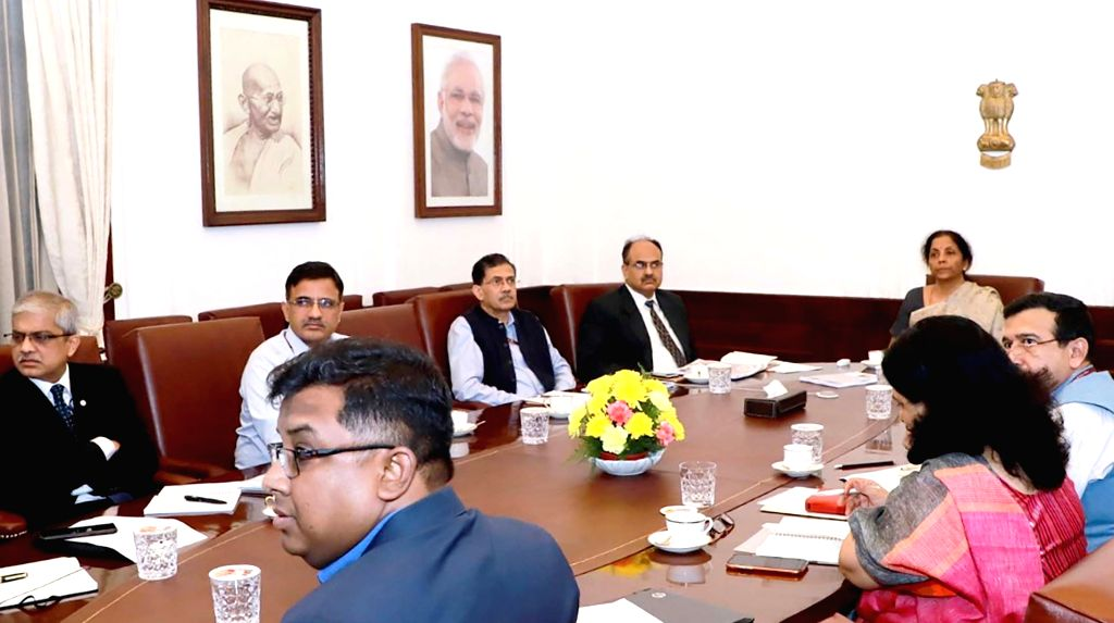 Union Finance and Corporate Affairs Minister Nirmala Sitharaman chairs a meeting on simplification of GST forms and returns, in New Delhi on Nov 16, 2019. - Nirmala Sitharaman