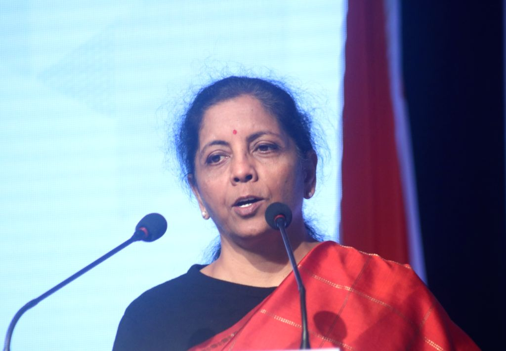 Union Finance and Corporate Affairs Minister Nirmala Sitharaman addresses at the inaugural session of India-Sweden Business Summit in New Delhi on Dec 3, 2019. - Nirmala Sitharaman