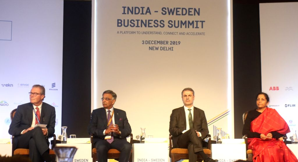 Union Finance and Corporate Affairs Minister Nirmala Sitharaman, Swedish Business, Industry and Innovation Minister Ibrahim Baylan and other dignitaries at the inaugural session of ... - Nirmala Sitharaman