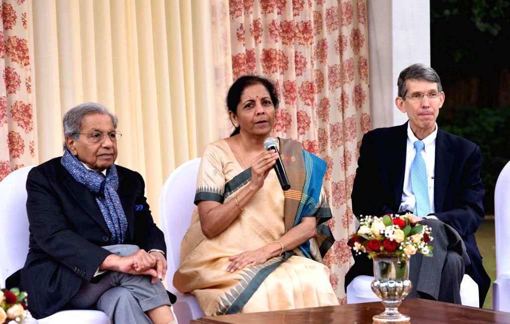 Union Finance and Corporate Affairs Minister Nirmala Sitharaman interacts with economists and policymakers from the US and India taking part in the 21st Neemrana Conference, at a luncheon ... - Nirmala Sitharaman