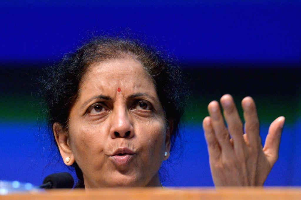 Union Finance and Corporate Affairs Minister Nirmala Sitharaman addresses a press conference in New Delhi, on Dec 13, 2019. - Nirmala Sitharaman