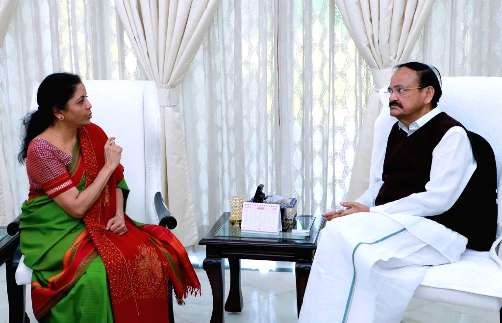Union Finance and Corporate Affairs Minister Nirmala Sitharaman meets Vice President M. Venkaiah Naidu ahead of the upcoming Budget Session, in New Delhi on Jan 25, 2020. - Nirmala Sitharaman and M. Venkaiah Naidu