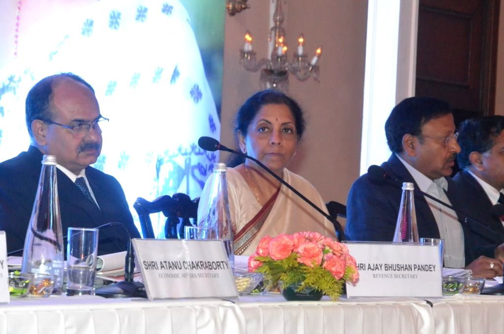 Union Finance and Corporate Affairs Minister Nirmala Sitharaman during an interactive session with opinion makers on Union Budget 2020, in Kolkata on Feb 9, 2020. - Nirmala Sitharaman