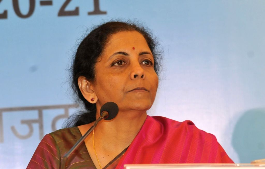 Union Finance and Corporate Affairs Minister Nirmala Sitharaman addresses a press conference during an interactive session with opinion makers organised to review their suggestions on the ... - Nirmala Sitharaman