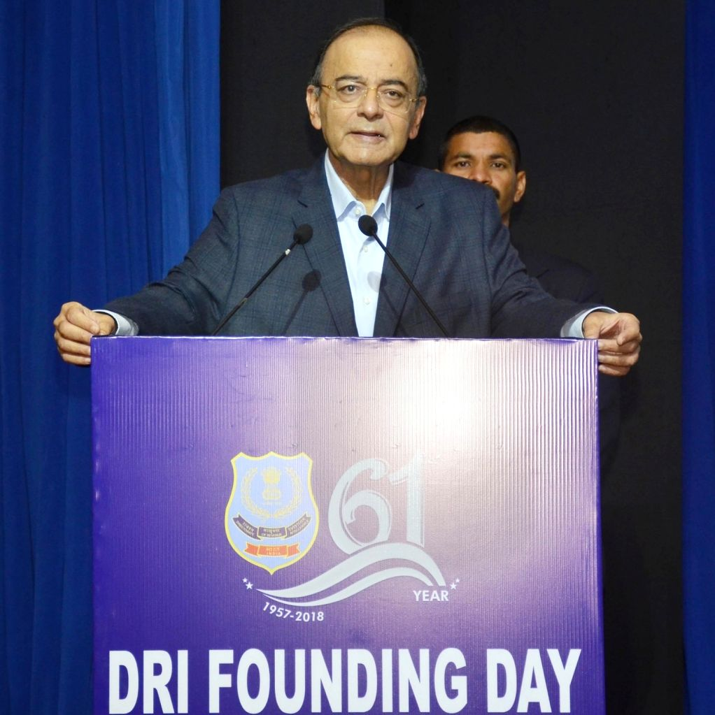 Union Finance and Corporate Affairs Minister Arun Jaitley addresses at the 61st Founding Day of Directorate of Revenue Intelligence (DRI) in New Delhi on Dec 4, 2018. - Arun Jaitley