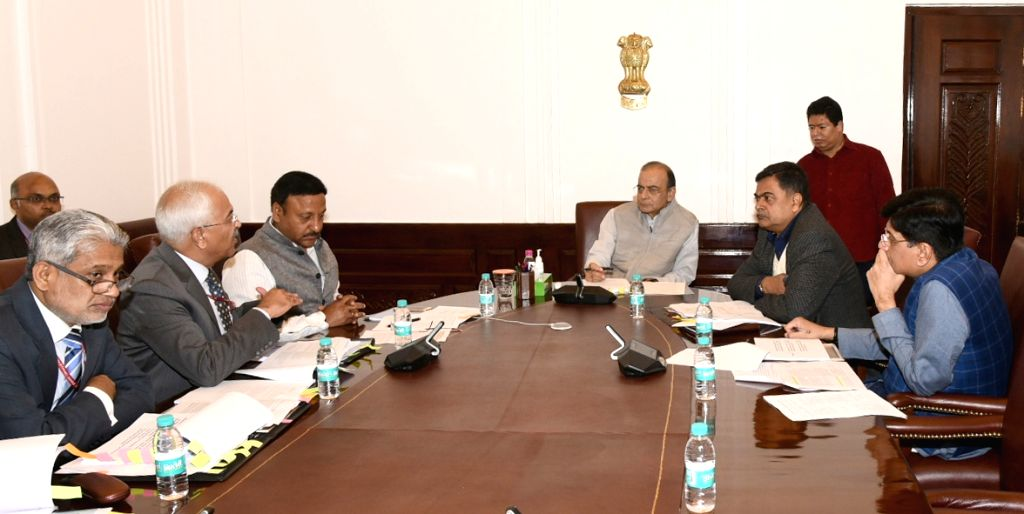 Union Finance and Corporate Affairs Minister Arun Jaitley chairs the meeting of Group of Ministers (GoM) on Power, in New Delhi, on Feb 25, 2019. Also seen Union Railways and Coal Minister ... - Arun Jaitley