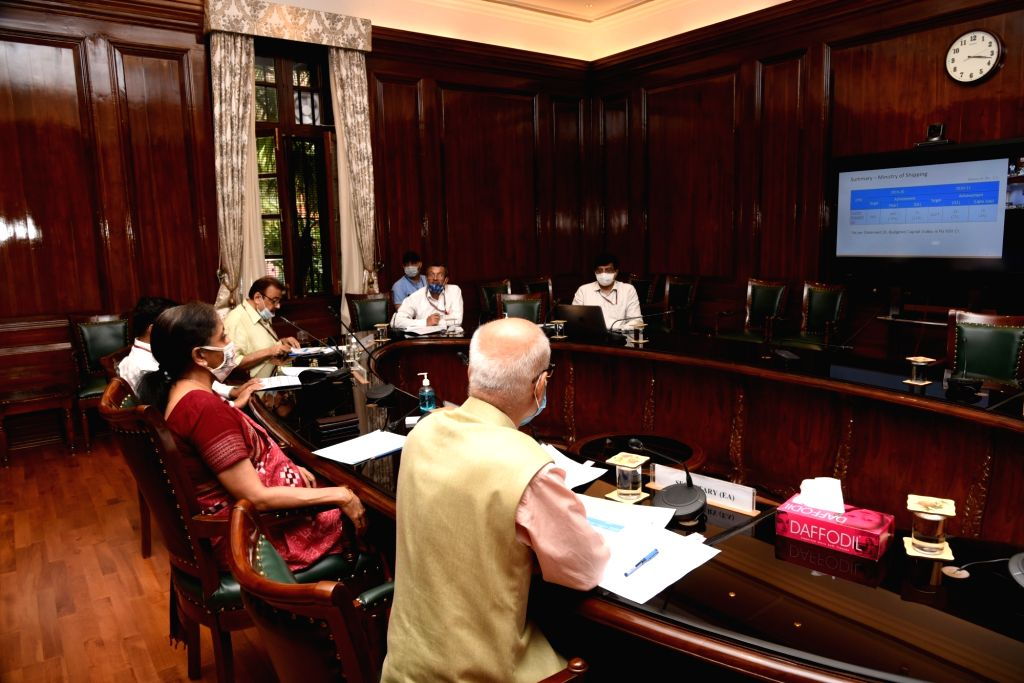 Union Finance & Corporate Affairs Minister Nirmala Sitharaman holds a video conference as she chairs the third meeting with Secretaries of the Ministries of Shipping, Road Transport ... - Nirmala Sitharaman
