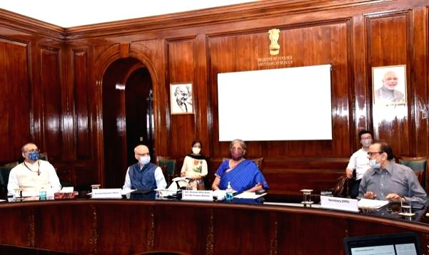 Union Finance & Corporate Affairs Minister  Nirmala Sitharaman holds a video conference meeting with the Secretaries of the Ministries of Petroleum & Natural Gas and Ministry of ... - Nirmala Sitharaman