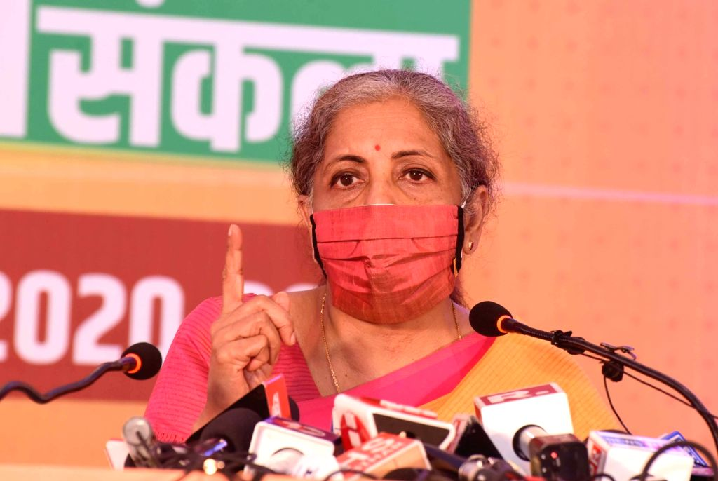 Union Finance Minister and BJP leader Nirmala Sitharaman addresses a press conference after releasing the party's election manifesto ahead of Bihar Assembly polls, in Patna on Oct 22, 2020.