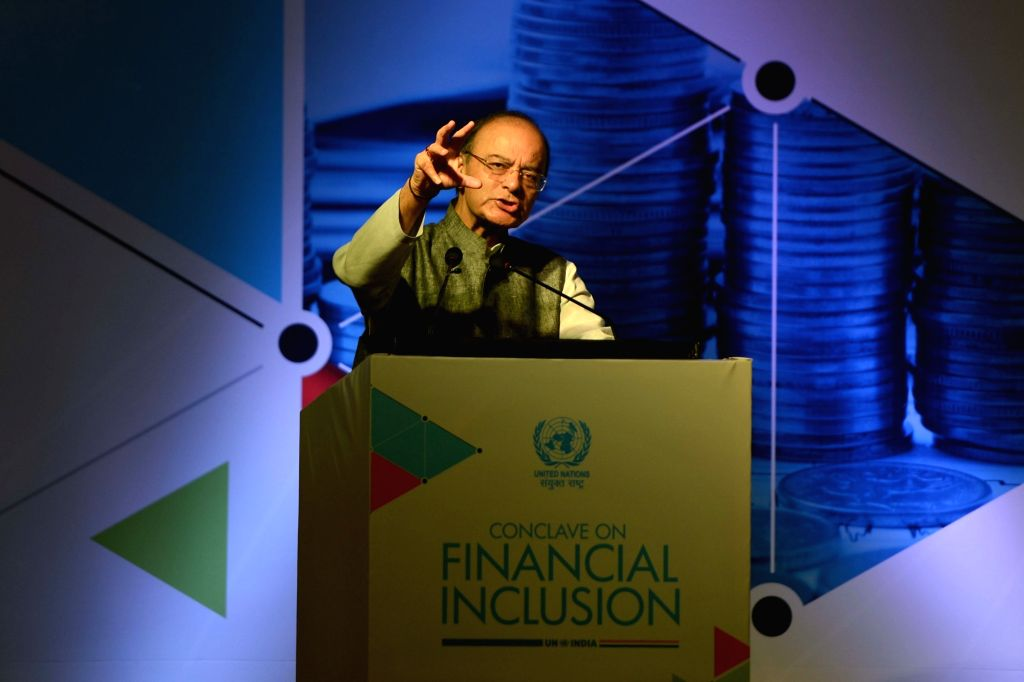 Union Finance Minister Arun Jaitley addresses during a conclave on financial inclusion organised by the United Nations (UN) in New Delhi on Sept 13, 2017. - Arun Jaitley