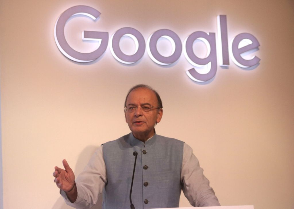 "Union Finance Minister Arun Jaitley addresses during the launch of Google's Unified Payments Interface (UPI)-based digital payment service called ""Tez"" in New Delhi on Sept 18, ... - Arun Jaitley"