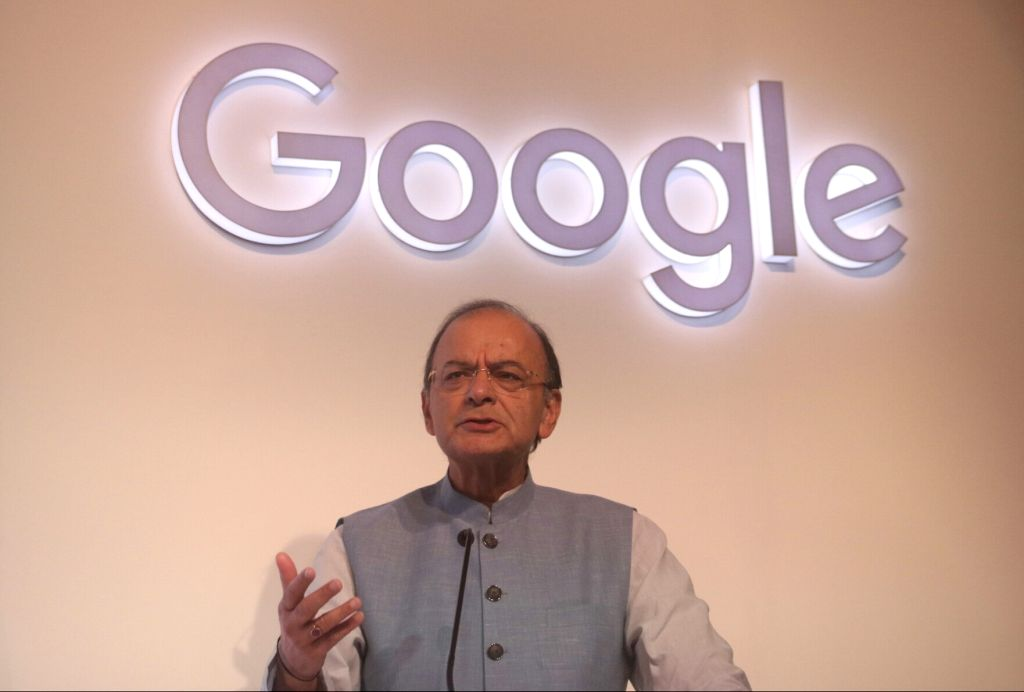 """Union Finance Minister Arun Jaitley addresses during the launch of Google's Unified Payments Interface (UPI)-based digital payment service called """"Tez"""" in New Delhi on Sept 18, ... - Arun Jaitley"""