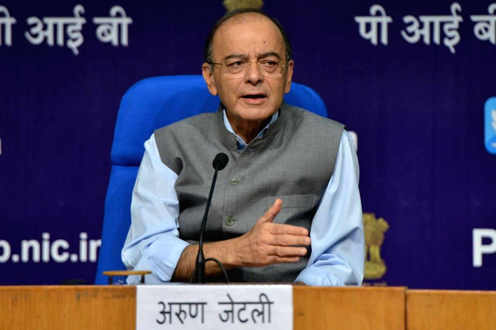 Union Finance Minister Arun Jaitley addresses a press conference in New Delhi on Sept 17, 2018. - Arun Jaitley