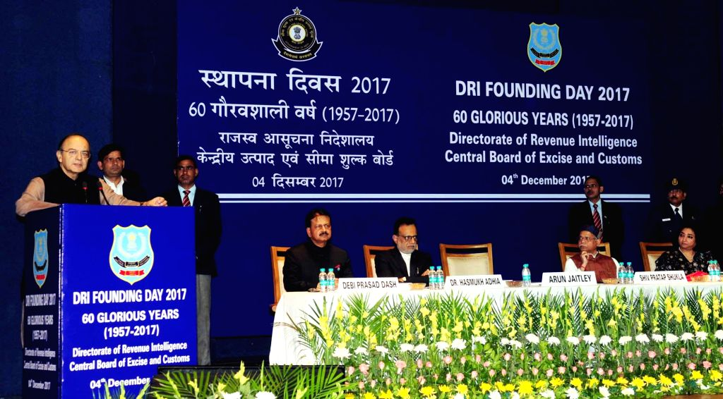 Union Finance Minister Arun Jaitley addresses at the Diamond Jubilee Celebrations of the Foundation Day of Directorate of Revenue Intelligence (DRI), in New Delhi on Dec 4, 2017. - Arun Jaitley