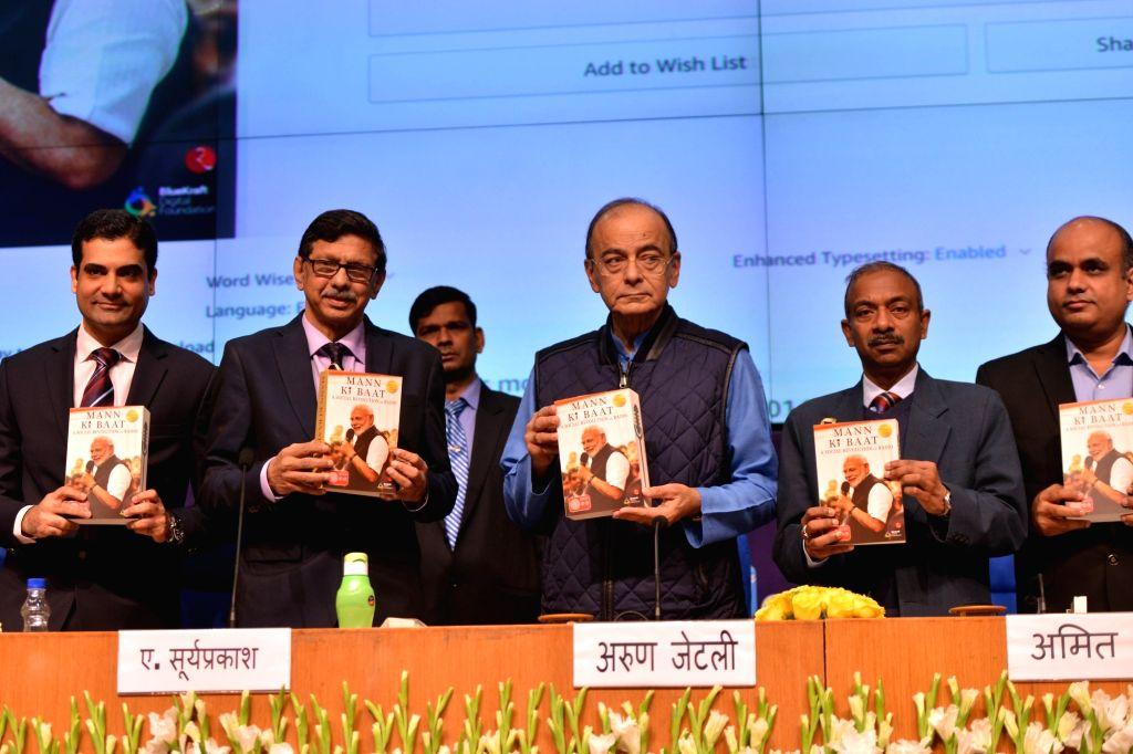 "Union Finance Minister Arun Jaitley addresses at the release of the book ""Mann ki Baat - A Social Revolution on Radio"", in New Delhi on March 2, 2019. Also seen Secretary, ... - Arun Jaitley"