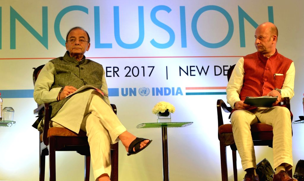 Union Finance Minister Arun Jaitley during a conclave on financial inclusion organised by the United Nations (UN) in New Delhi on Sept 13, 2017. - Arun Jaitley