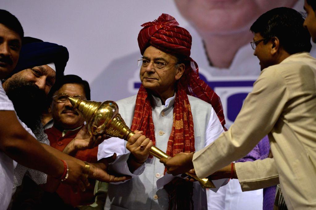 Union Finance Minister Arun Jaitley during GST-Delhi Sambodhan at Talkatora Stadium in New Delhi on July 6, 2017. - Arun Jaitley