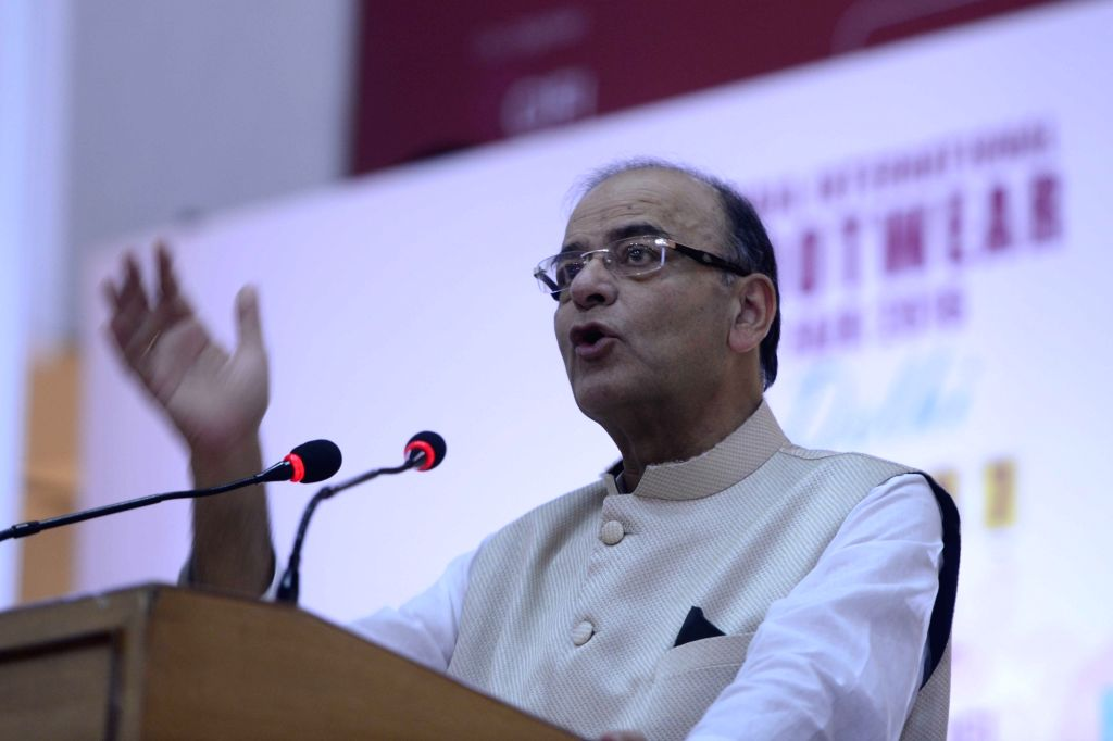 Union Finance Minister Arun Jaitley during the inaugurate of India International Footwear Fair 2016 in New Delhi on Aug 5, 2016. - Arun Jaitley