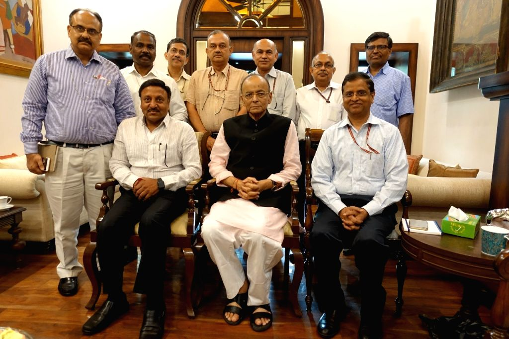 Union Finance Minister Arun Jaitley meets all the five secretaries of his ministry as well as the chairpersons of the two apex tax bodies CBDT and CBIC in New Delhi, on May 24, 2019. - Arun Jaitley