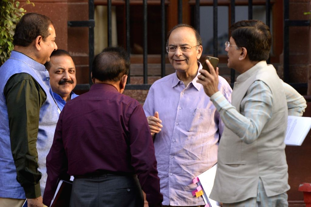 Union Finance Minister Arun Jaitley, Power Minister Piyush Goyal, MoS PMO Jitendra Singh share a light moment after Cabinet Meeting at South Block in New Delhi on May 24, 2017. - Arun Jaitley and Jitendra Singh
