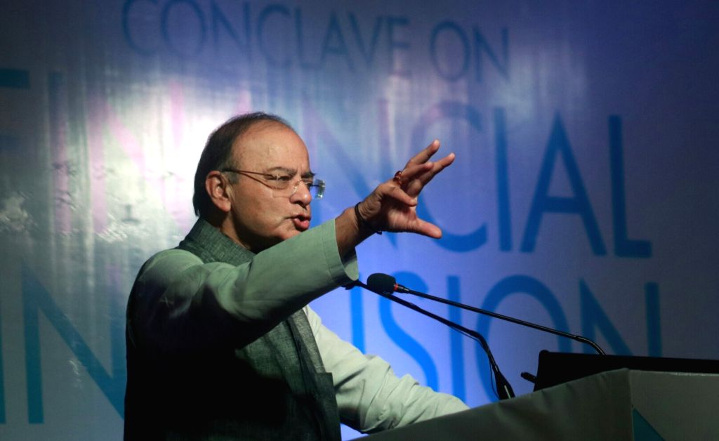 Union Finance Minister Arun Jaitly addresses a conclave on financial inclusion organised by the United Nations in New Delhi on Sept. 13, 2017. - Arun Jaitly