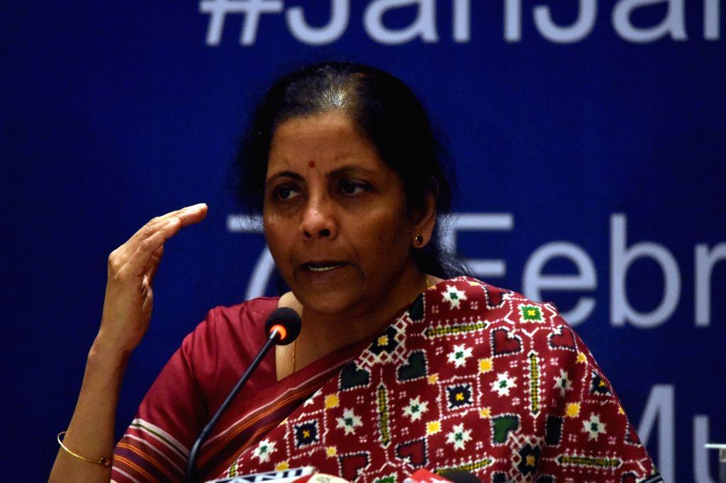 Union Finance Minister Nirmala Sitharaman addresses a press conference in Mumbai on Feb 7, 2020. - Nirmala Sitharaman