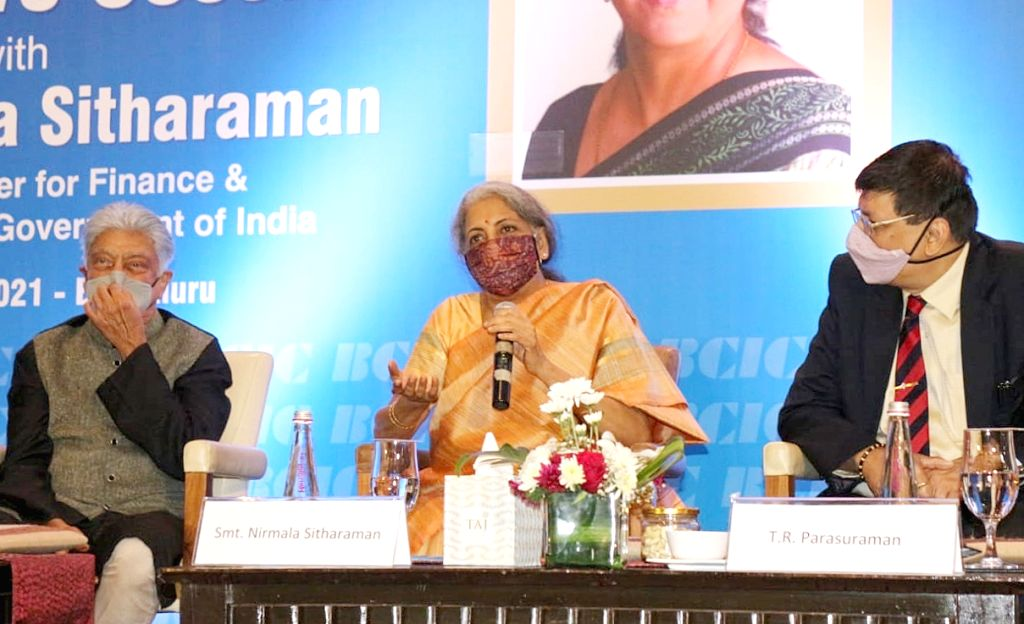 Union Finance Minister Nirmala Sitharaman during a post-Budget interactive session with Industry leaders in Bengaluru on Sunday 21st February 2021 - Nirmala Sitharaman