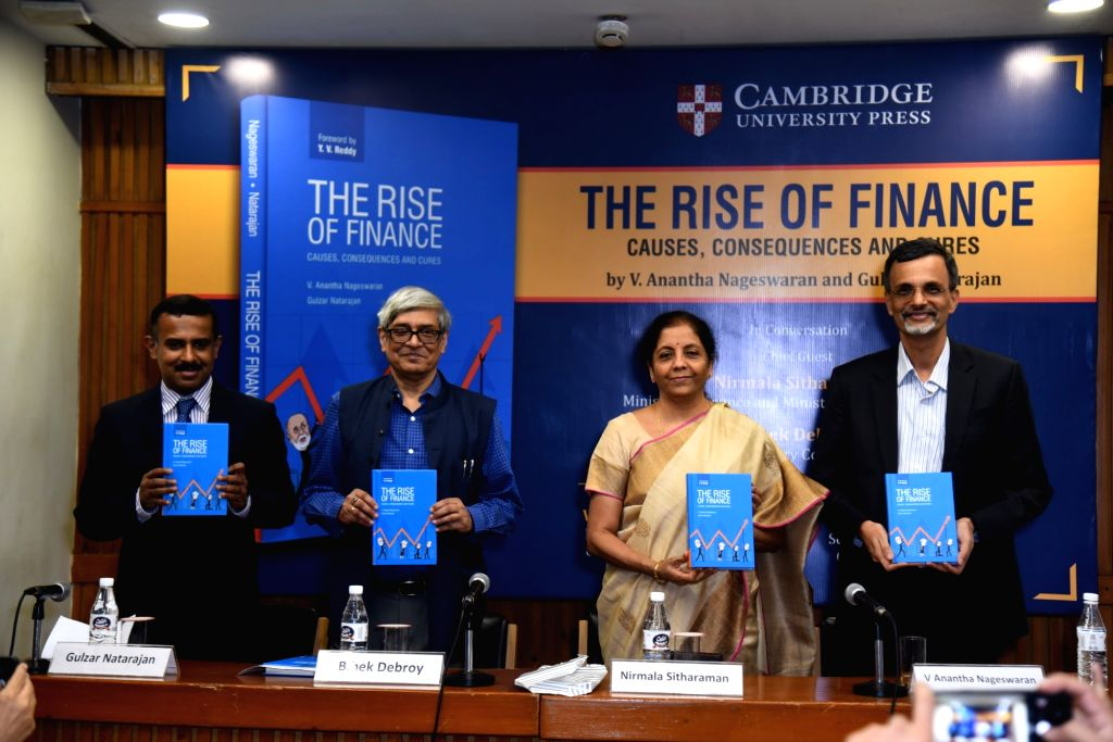 Union Finance Minister Nirmala Sitharaman, Global Innovation Fund Senior Managing Director Gulzar Natarajan, Economic Advisory Council to the Prime Minister Chairman Bibek Debroy and Dean ... - Nirmala Sitharaman
