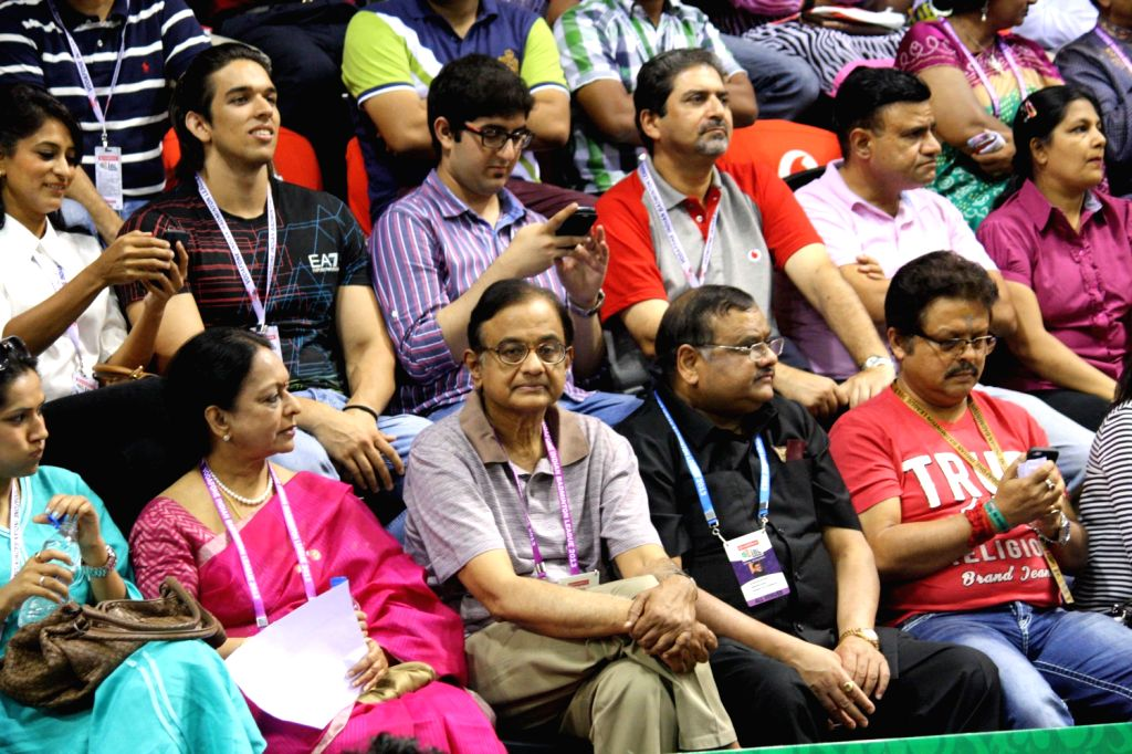 Union Finance Minister P Chidambaram watching a match at the Indian Badminton League in New Delhi on August 15, 2013. (Photo::: IANS) - P Chidambaram