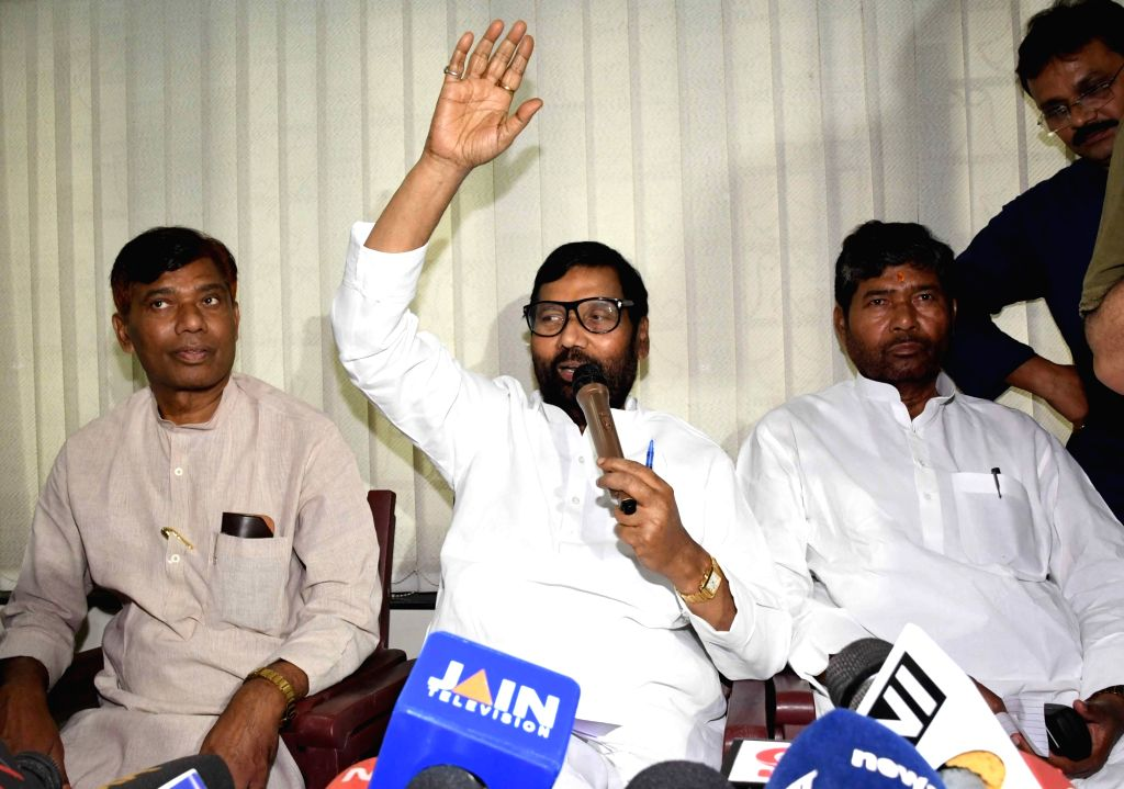 Union Food And Consumer Affairs Minister Ram Vilas Paswan addresses a press conference in Patna on May 13, 2017. - Ram Vilas Paswan