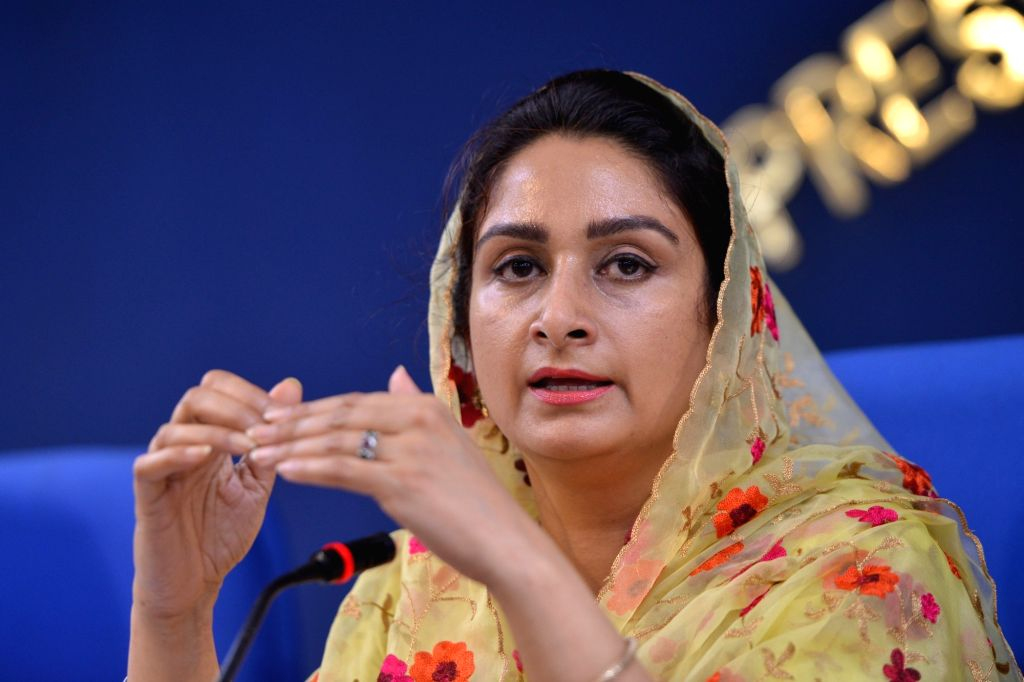 Union Food Processing Industries Minister Harsimrat Kaur Badal addresses a press conference in New Delhi, on June 4, 2018. - Harsimrat Kaur Badal
