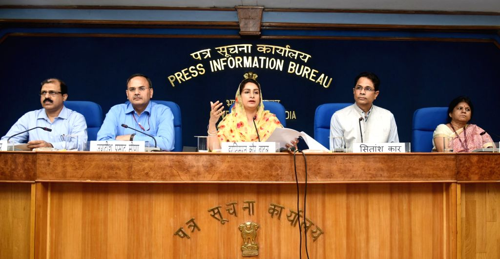 Union Food Processing Industry Minister Harsimrat Kaur Badal addresses a press conference in New Delhi, on June 4, 2018. - Harsimrat Kaur Badal