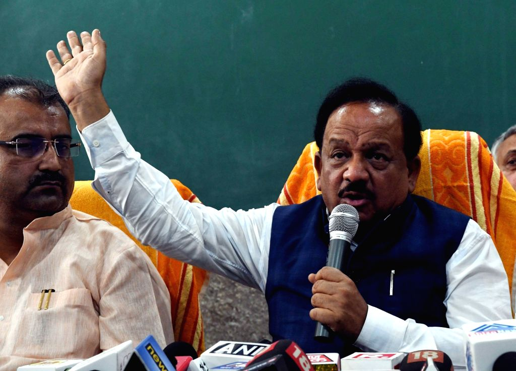 Union Health and Family Welfare Minister Harsh Vardhan addresses a press conference after visiting children with encephalitis symptoms at a hospital in Muzaffarpur, Bihar on June 16, ... - Harsh Vardhan