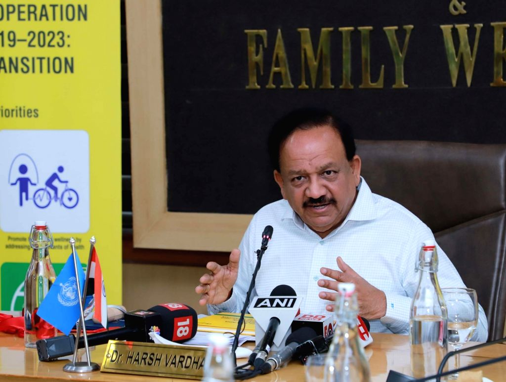 Union Health and Family Welfare Minister Harsh Vardhan addresses at the launch of the 'WHO India Country Cooperation Strategy 2019 ??? 2023: A Time of Transition', in New Delhi on Oct 9, ... - Harsh Vardhan