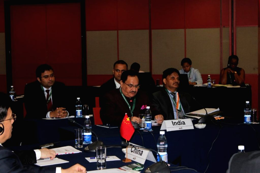 Union Health and Family Welfare Minister J.P. Nadda addresses at the 8th BRICS Health Ministers' Meeting; in Durban, South Africa, on July 20, 2018. - J.