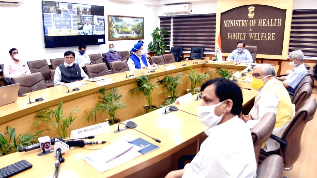 Union Health & Family Welfare Minister Harsh Vardhan chairs the 19th meeting of the high-level Group of Ministers (GoM) on COVID-19, through video conferencing, in New Delhi on July ... - Harsh Vardhan